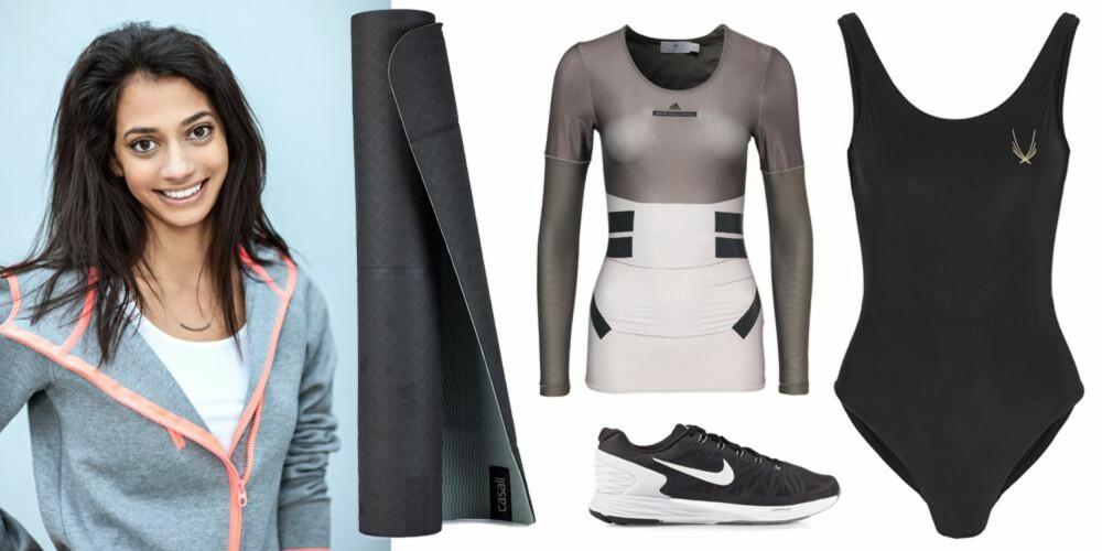 SOFIAS FAVORITTER: Yogamatte fra Casall, 299 kr. Sko fra Nike, 999 kr. Topp fra Adidas by Stella McCartney, 1195 kr. Badedrakt fra Lucas Hugh, 1600 kr.