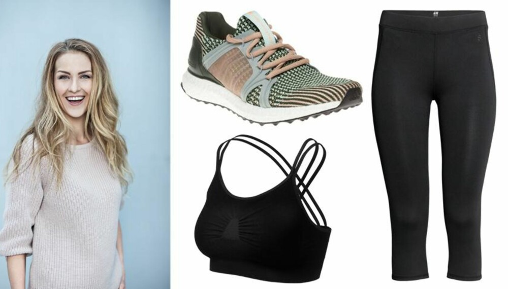 BIRTES FAVORITTER: Stella McCartney Ultra Boost Shoes, kr 2200. Run & relax Yoga Bra – Beautiful Black – Bamboo, kr 395. H&M Yogatights 199,-