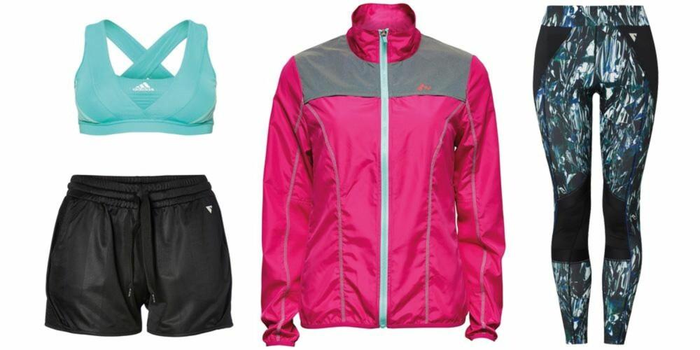 BUDSJETT: Sports-bh fra Adidas, 399 kr. Løpejakke fra Only Play, 299 kr. Shorts fra YAS Sport, 230 kr. Tights fra Cubus, 249 kr.