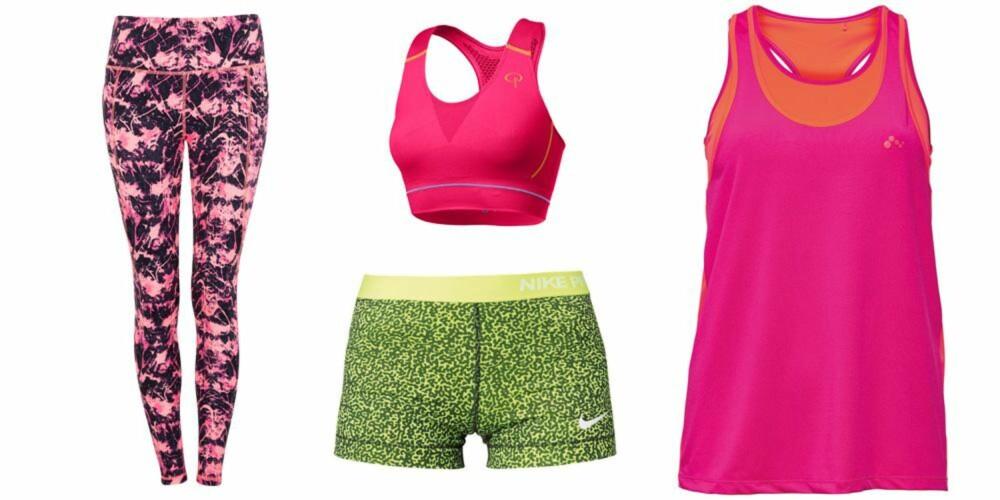 FRISKE FARGER: Tights fra Cubus, 249 kr. Sports-bh fra Pierre Robert, 259 kr. Shorts fra Nike Performance/Zalando, 249 kr. Topp fra Only Play, 280 kr.