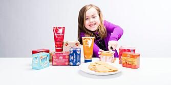 GODT VALG: Emmeline Berentsen (7) kan spise brunost med god samvittighet.