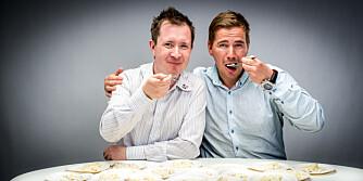 TESTPANELET: Jan Ivar Nykvist og Joakim Bakken fra Team BarbieQ smakte seg gjennom 15 ulike typer potetsalat.