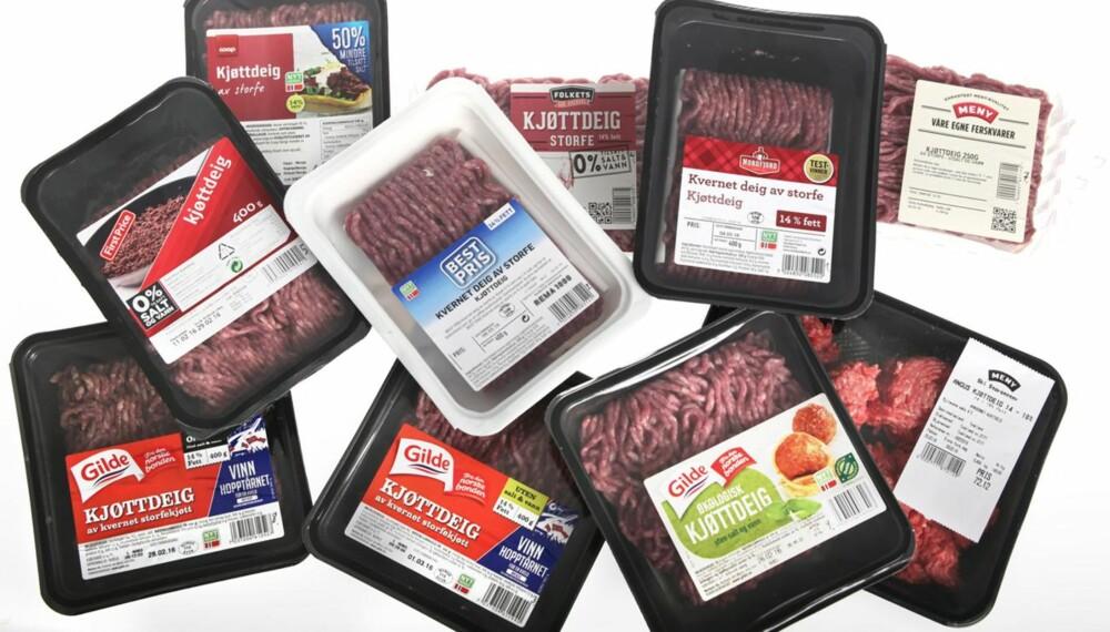 MED OG UTEN SALT OG VANN: Kjøttdeigene med salt og vann kommer generelt best ut i testen. Aller best karakter for kjøttdeigene fra Nordfjord og Best Pris.