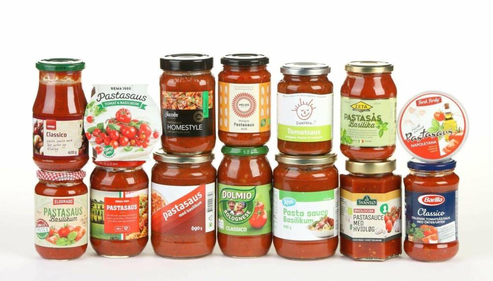 STOR VARIASJON: Innholdet av tomater varierer fra 35 til 95 prosent i disse pastasausene. FOTO: Petter Berg