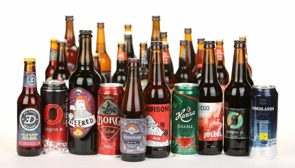 JULEØL: De ti beste juleølene i 2016. De 33 ølene vi har også smakt på, men som ikke kom opp blant de ti beste, finner du i spalten til høyre. FOTO: Petter Berg