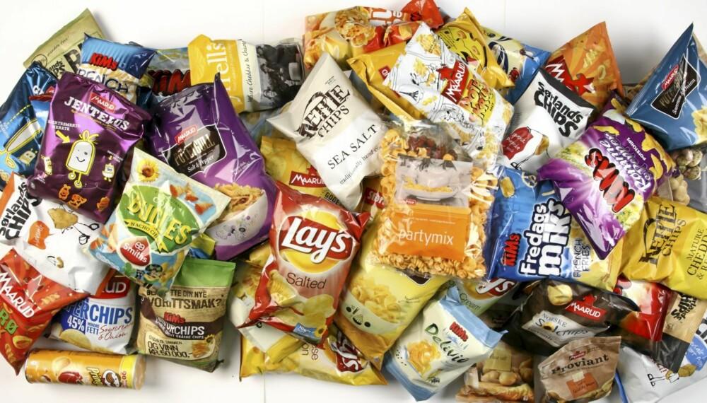TEST: DinKost.no har vurdert næringsinnholdet i 69 typer salte snacks av potet, mais og ris.