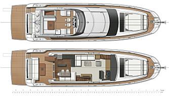 PLANLØSNING: Slik er flybridge- og cockpitlayout i Prestige 680 S. (ILL:: Prestige)