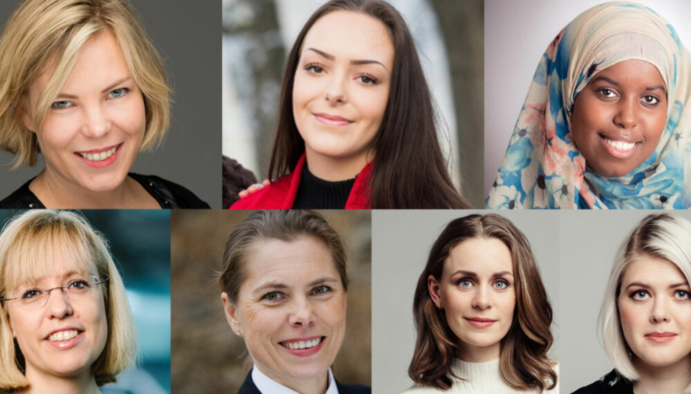 KOMMER: Marta Breen, Andra Voldum, Sumaya Jirde Ali, Åse Wetås, Louise Dedichen, Nina Brochmann og Ellen Støkken Dahl. En bra bukett som alle er klare for KvinneLørdagen.