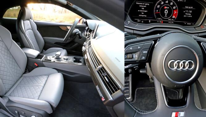 LANGE DAGSETAPPER: Sportssetene i nye Audi S5 innbyr til lange dagsetapper. Lekker virtuell cockpit og head-up-display signaliserer 2017. (FOTO: Terje Bjørnsen)