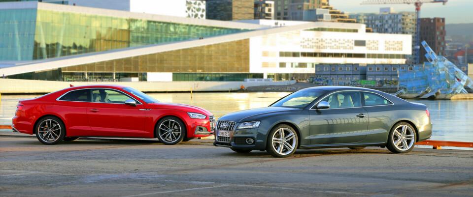 SPREKINGER: 10 år skiller disse bilene, men alderen tynger ikke den gamle. (FOTO: Terje Bjørnsen)