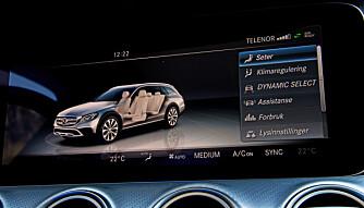 PENT: Den store Mercedes-skjermen viser pene bilder og et mylder av justeringsmuligheter. (FOTO: Terje Bjørnsen)