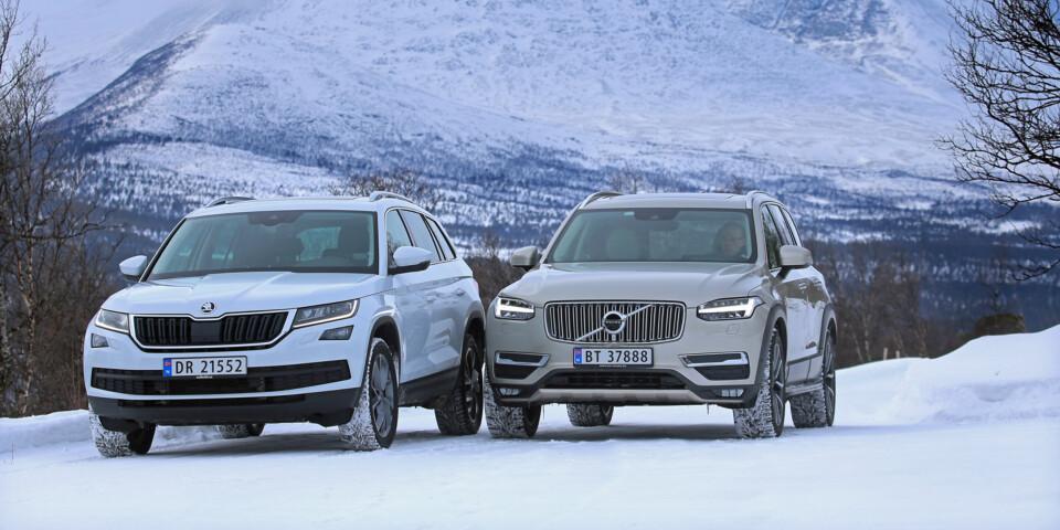 GANSKE LIKE: Det skiller nesten 500 000 mellom Skoda Kodiaq 2,0 TDI og Volvo XC90, men den billigste får likevel 6 på terningen.. (FOTO: Terje Bjørnsen)