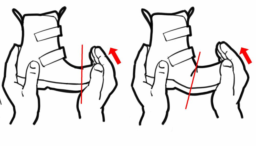 BØYETEST: For å sjekke om sålen bøyer på riktig sted, dytter du tuppen opp på skoen. Da skal den bøye rett under tåballen, ikke på midten av skoen slik du ser på illustrasjonen til høyre.