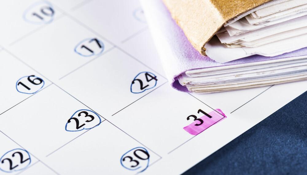 MENSTRUASJONSSYKLUS: Det kan være lurt å markere i en kalender eller bruke en app for menstruasjon, slik at man lettere vet når mensen kommer. Foto: Gettyimages.com.