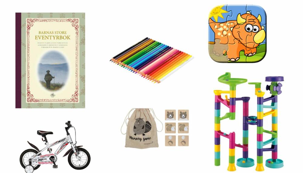 JULEGAVE TIL TREÅRINGEN: Hva med fargeblyanter eller en eventyrbok? Du kan også slå på stortromma og gi en sykkel. FOTO: Produsentene.
