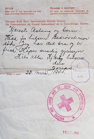 KONTAKT: Jonas skrev hjem, men brevene måtte være korte: «Kjæreste Aslaug og barn. Takk for hilsen. Bedrøvet mor død. Jeg har det bra og er frisk. Håper snarlig gjensyn. Hils alle. Kjærlig hilsen din Jonas.» FOTO: Privat.