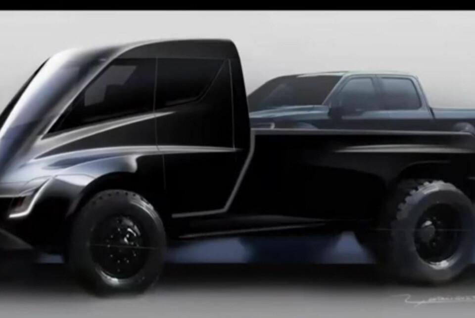 PICKUP: Under lanseringen av Tesla Semi viste Elon Musk frem tegningen av en Tesla pickup med en Ford F-150 på planet. Foto: Youtube