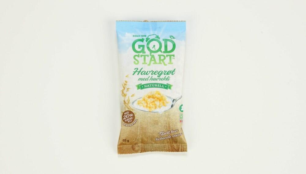 Rema 1000 God start havregrøt med havrekli  Produsent: Stangeland Mølle AS/Rema 1000  Pris: Kr 7  Mengde tørrvare: 65 g  Næringsinnhold pr. porsjon:   Energi: 243 kcal  Fett/hvorav mettet: 5,2/1 g   Karbohydrater: 37,7 g  Hvorav sukkerarter: 0,7 g  Protein: 8,5 g  Kostfiber: 5,8 g  Salt: 0 g  Tilsatt sukker: Nei  Andel havre: 100 %  Inneholder kun havregryn og havrekli og vil kanskje kreve noe tilsetning for å falle i smak? Lite sukker, ikke noe tilsatt sukker, og inneholder bra med protein og fiber. Uten salt.  Terningkast: 6 *** Local Caption *** Rema 1000 God start havregrøt med havrekli  Produsent: Stangeland Mølle AS/Rema 1000  Pris: Kr 7  Mengde tørrvare: 65 g  Næringsinnhold pr. porsjon:   Energi: 243 kcal  Fett/hvorav mettet: 5,2/1 g   Karbohydrater: 37,7 g  Hvorav sukkerarter: 0,7 g  Protein: 8,5 g  Kostfiber: 5,8 g  Salt: 0 g  Tilsatt sukker: Nei  Andel havre: 100 %  Inneholder kun havregryn og havrekli og vil kanskje kreve noe tilsetning for å falle i smak? Lite sukker, ikke noe tilsatt sukker, og inneholder bra med protein og fiber. Uten salt.  Terningkast: 6 --------------------------- Oslo/studio 20170306;  Shape-Up  Hjemmet  Klikk.no  Tester  Havre  Havreblandinger    Oslo/studio 06032017;  Shape-Up  Hjemmet  Klikk.no  Tester  Havre  Havreblandinger