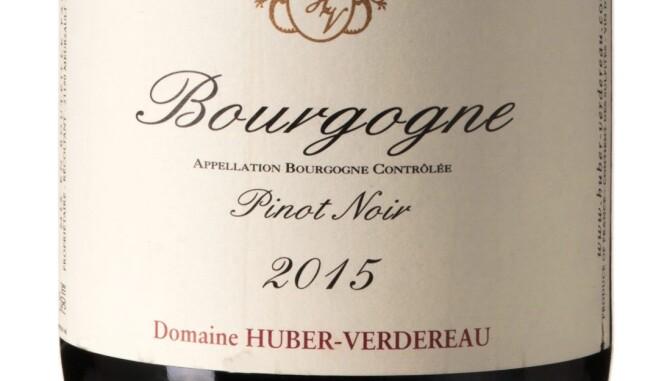 GODT KJØP: Huber Verdereau Bourgogne Pinot Noir Cuvée Vinarius 2015. Foto: Vinmonopolet