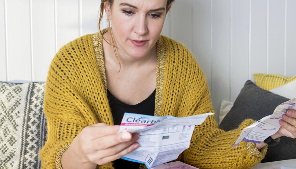 FØDSELSLEGE: - Generelt synes jeg stavene oppleves som mest hygienisk og estetisk penere enn strimlene, sier Marie Lilland Eide (33), som jobber som fødselslege og bidrar i testpanelet i vår test av graviditetstester. FOTO: Anne Elisabeth Næss