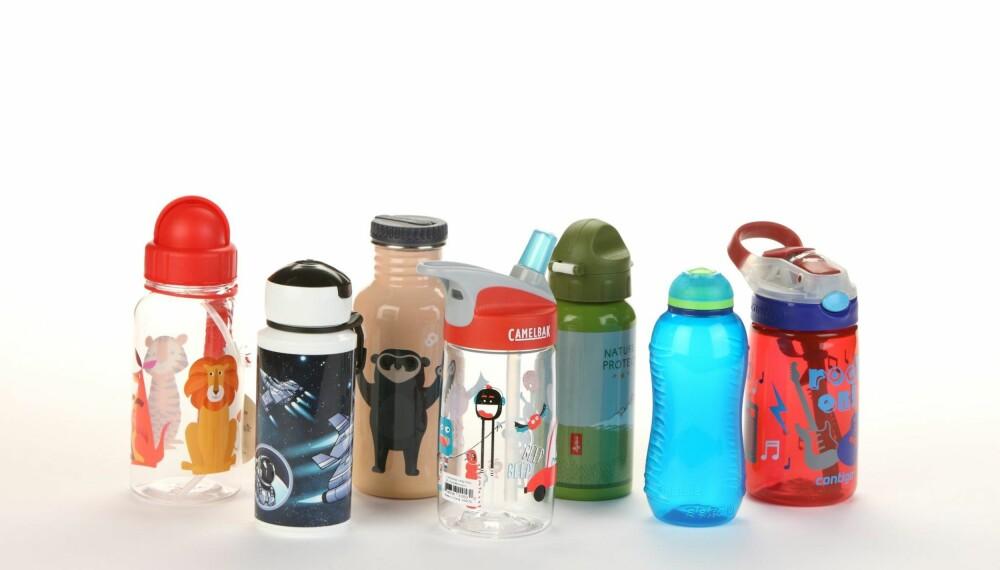 LEKKER OG ER VRIENE: Mange av disse flaskene enten lekker eller har andre ulemper som gjør dem trøblete for barn. FOTO: Petter Berg.