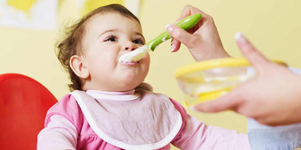 MAT TIL BABY 6-12 MÅNEDER: Hvilken mat kan du egentlig gi en seks måneder gammel baby? Her er oversikten over når du kan gi babyen ris, løk, salt, avokado, middag og pålegg. FOTO: Getty Images.