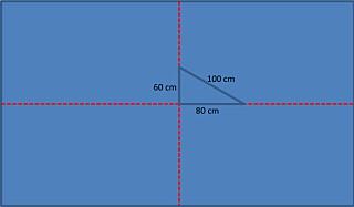 MIDTPUNKTET: Slik finner du midtpunktet i gulvet. Trekk to linjer fra hver av midtpunktene på to vegger. Der hvor de møtes er midtpunktet. For å sjekke at strekene møtes i en rett vinkel, strekk opp en trekant med sider på 60 og 80 cm. Er vinkelen 90 grader, skal diagonalen være eksakt 100 cm.