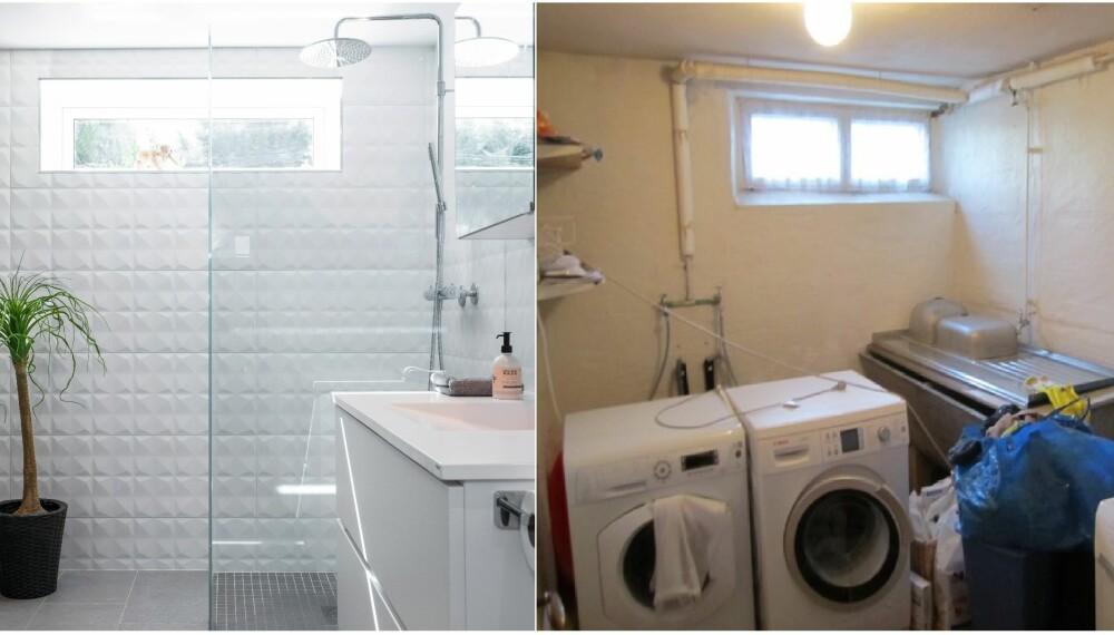 BYGGE BAD I KJELLER: Familen hadde et trangt og utrivelig vaskerom i kjelleren som de ønsket å gjøre om til et bad. Løsningen å innlemme mesteparten av det ubrukte gangarealet i badet. Foto: Espen Grønli