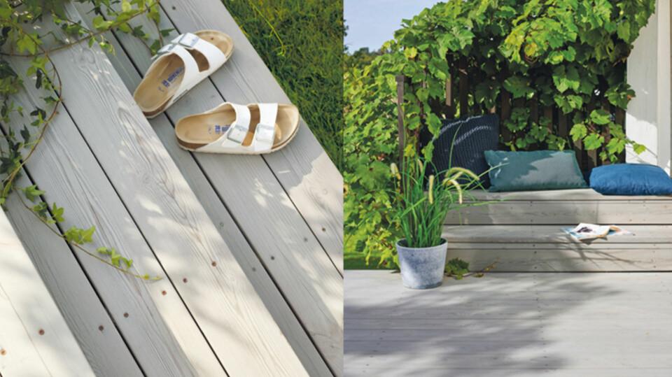 Terrassebeis fargesetter og fremhever treverkets naturlige utseende. Terrassen på bildet er beiset i fargen 1008 Gråhvit.