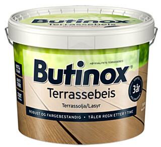 Den nye Butinox terrassebeis tåler regn ca én time etter påføring, avhengig av utetemperatur.