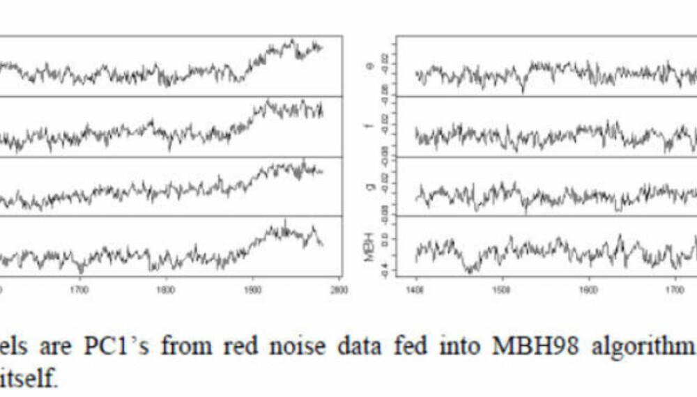"""Metoden for å lage hockeystick-kølla har vist seg å gi samme resultat, selv om en bruker helt tilfeldige datamaskingenerert inngangsdata i form av """"rød støy""""."""