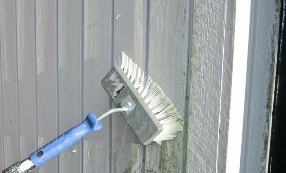 FASADEVASK: Før man setter i gang med maling eller beising, bør veggen rengjøres for skitt og smuss. Dette gjelder også dersom man skal behandle en kledning som har stått ubehandlet.