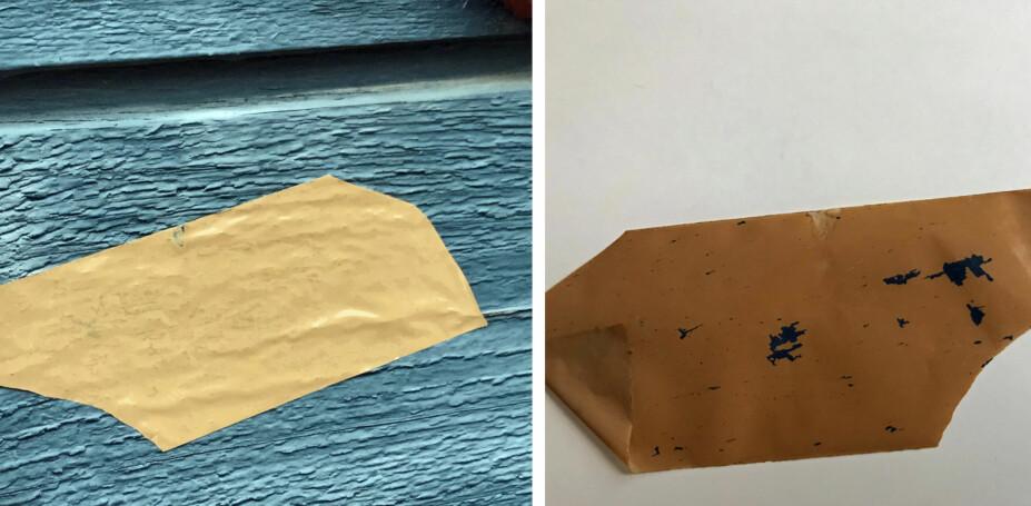 TAPETESTEN: Fest en tapebit på veggen og riv hurtig av. Følger det beis- eller malingrester med, så er det tid for å behandle veggen på nytt.