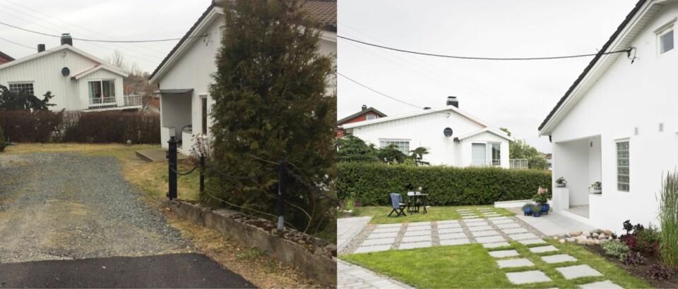 FASADEFORANDRING: Uteplassen besto av en tilfeldig miks av gress, ugress og grus. Nå har familien fått en ny uteplass og en ny entré. Foto: Privat og Niklas Hart