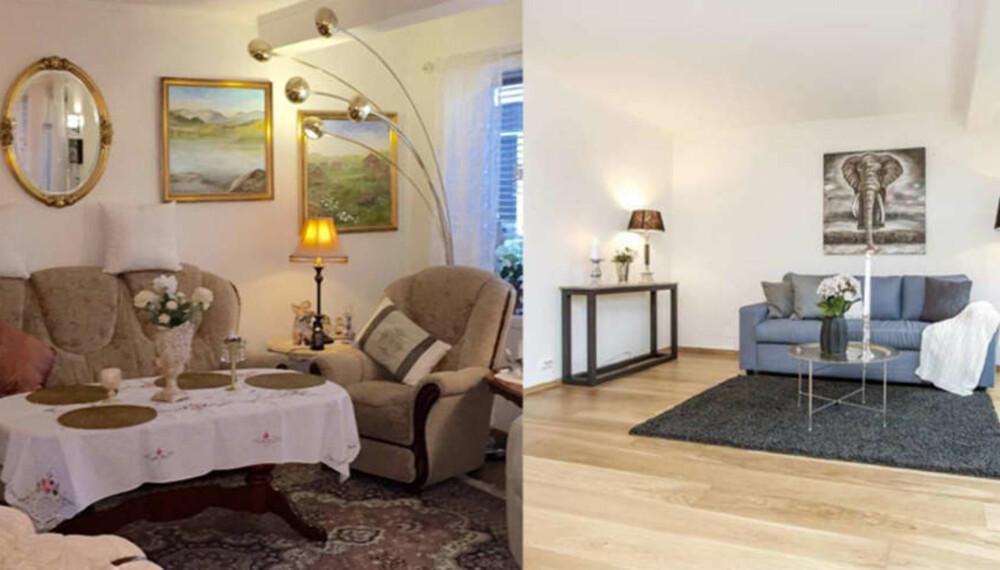 STYLE BOLIGEN FØR VISNING: Bildet viser før og etter styling av stuen. Ekspertene råder deg sterkt til å fjerne personlige gjenstander og bilder før visning. Foto: Din boligstylist