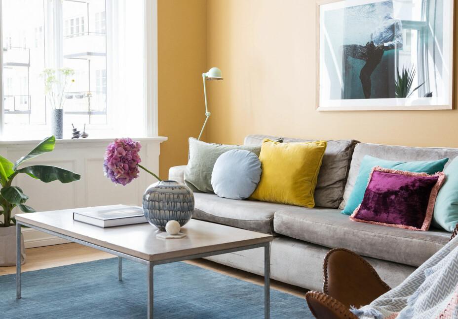 I den okergule stuen står en egendesignet sofa med sølvfarget velurtekstil, sofaen er bygget i Spania. Salongbordet er fra MBJ Design, det blå teppet er Massimo Bamboo. Bildet er av fotograf Kris Micallef, kjøpt på Malta, krismicallef.com. I Butterfly-stolen ligger et bunadsteppe fra Fram Oslo. Putene og vasen er fra Eske. Gulfargen er Masala fra Jotun.