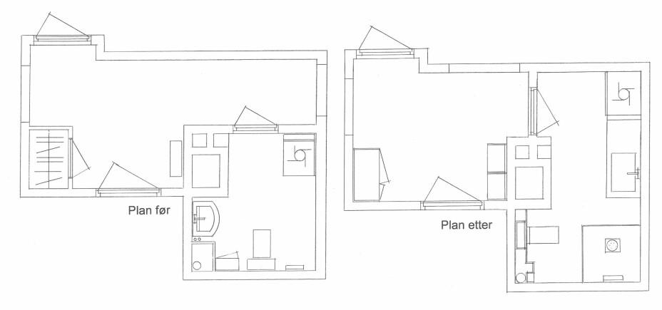 Plantegning før og etter: Adeles entre var ikke plasseffektiv. Inngangen til stuen ble flyttet, og den smale tarmen som før ledet mot stuen, er nå innlemmet i badeværelset. Plassen på badet er nå også bedre utnyttet.