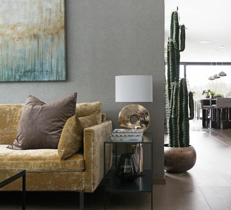 Fargepaletten i stuen er valgt med utgangspunkt i maleriet, som henger over sofaen. Maleriet er malt av Birthe for mange år siden. Sidebordet har hun også tegnet selv, og fått laget av Hjem Kjære Hjem. Den gullfargede lampefoten har vært spraymalt i ulike farger opp gjennom, og blomsterpotten til kaktusen er fra Ellos.