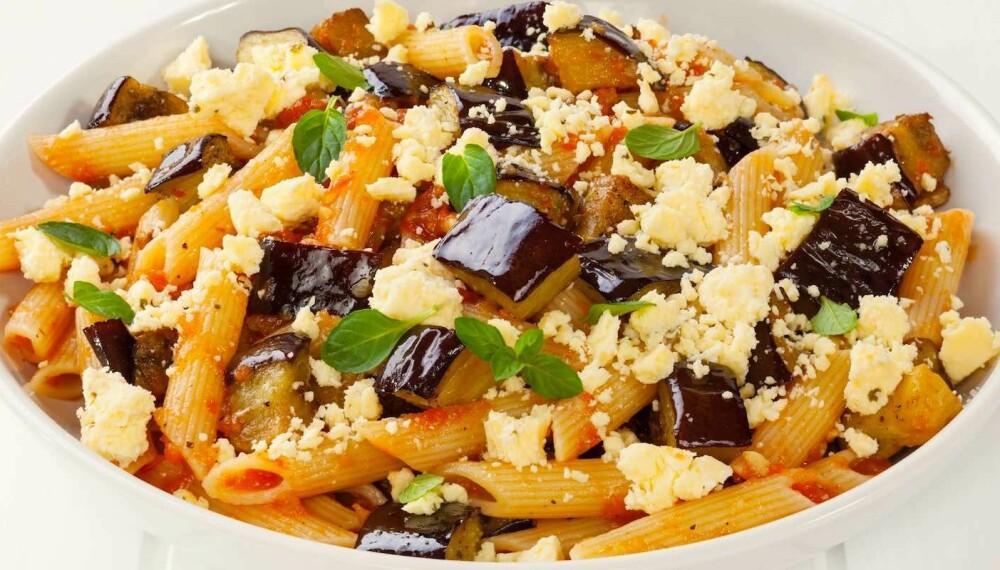 DEILIG: Aubergine og ricotta salata gir denne retten et flott særpreg.
