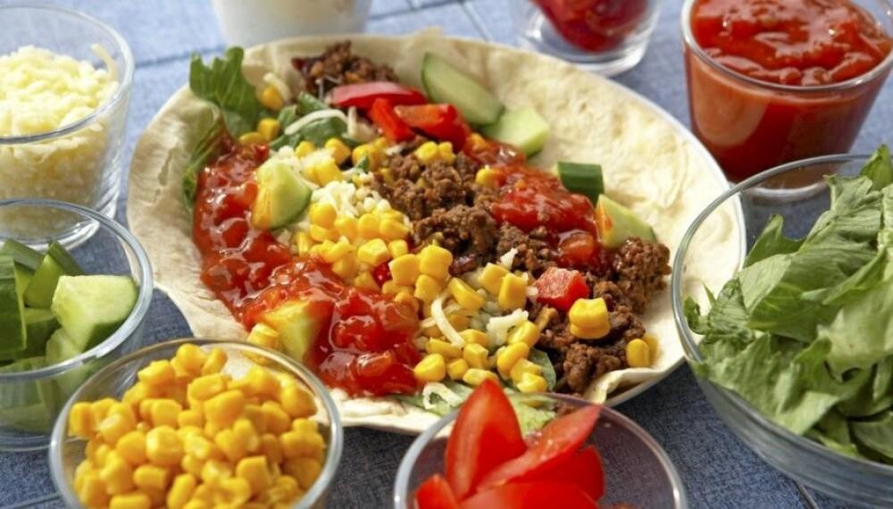 LAVKARBO-DIETT: Å gå ned i vekt med lavkarbo handler om god mat med lite karbohydrater, i fornuftige porsjoner. Taco er blant annet lavkarbo-mat, men velg en grov tortilla-lefse.