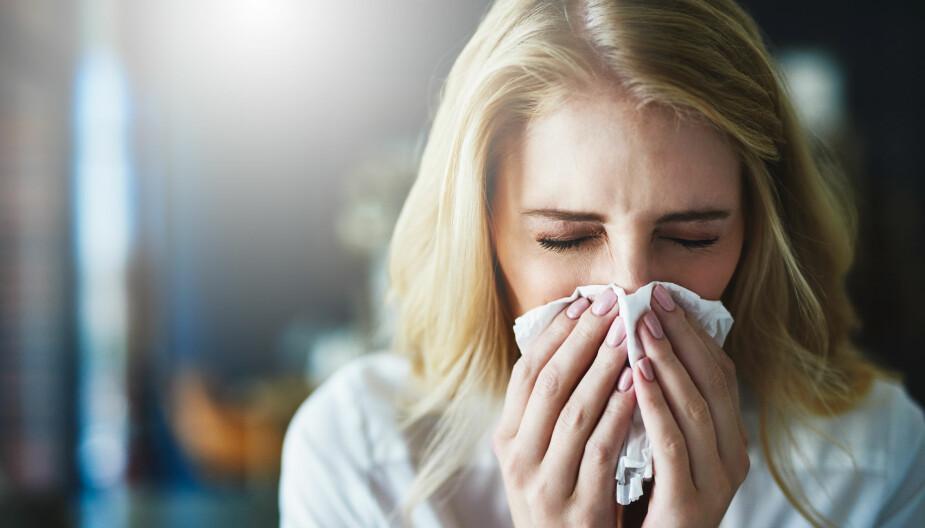 FORKJØLET: Rennende nese er et av tegnene på at du blir forkjølet.