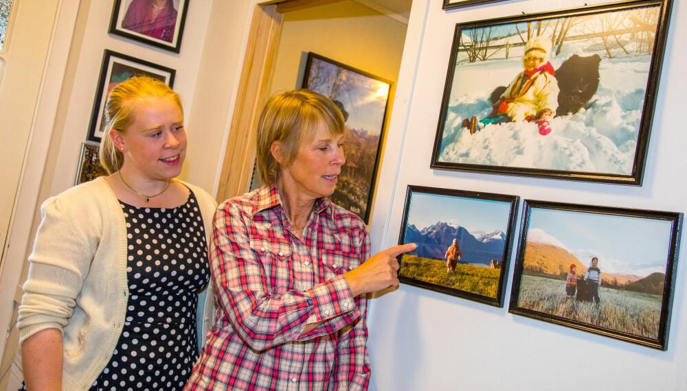 HJEMPLASSEN: På en vegg henger bilder av Ritas barn. Et av dem er av Eirin Renate på hjemplassen i Kåfjord med Lyngsalpene i bakgrunn
