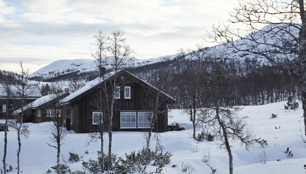 Hytta ligger øverst og ytterst i hyttefeltet under Heimveglinuten ved Rauland i Vinje kommune, Telemark..