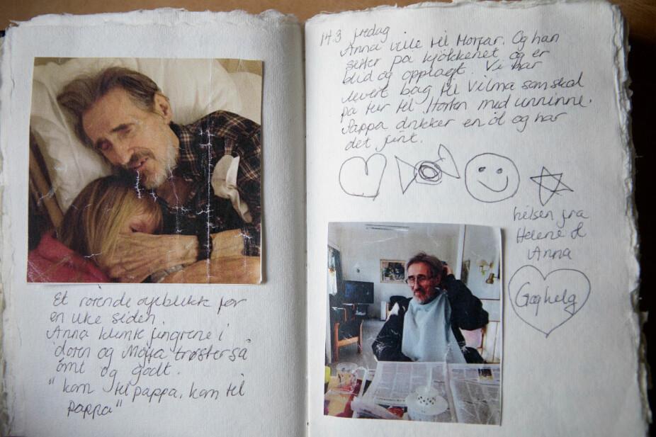 KJÆRLIGHET: Notatboken de hadde liggende på farens rom på Ammerudlunden sykehjem, er fylt med kjærlighet i både ord og bilder.