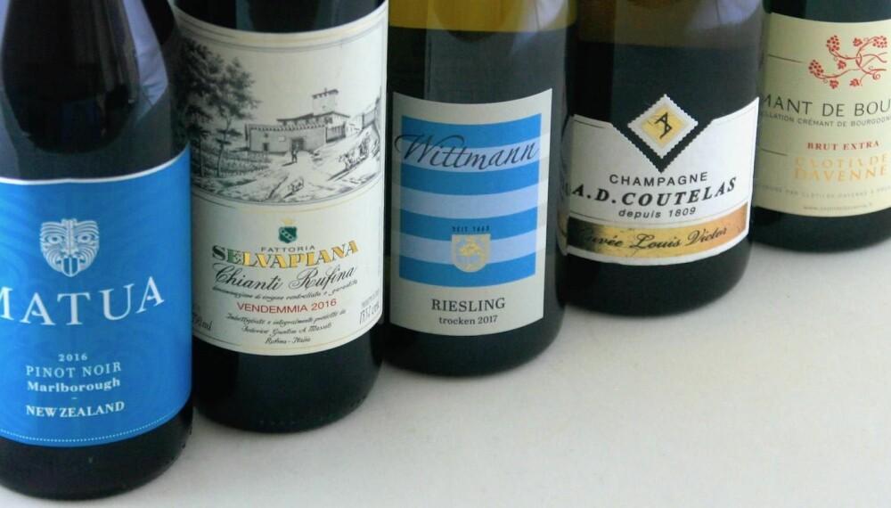 TIL JULEMAT: Disse vinene skulle dekke det aller meste.