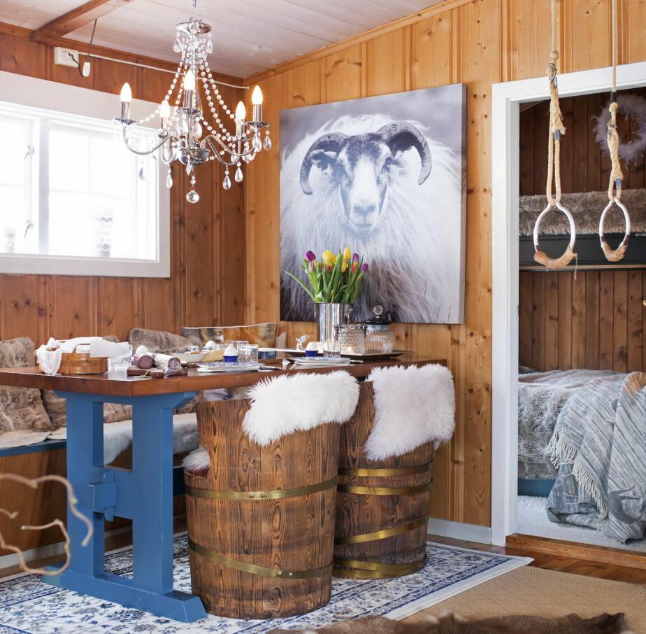 GJENBRUK: De sjarmerende tønnestolene som fulgte med hytta er Heidis favoritter. Turnringene brukes flittig, de fant hun i uthuset.