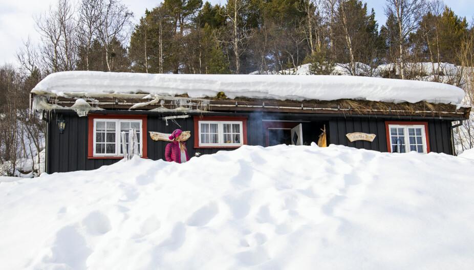 KNATTEN: Hytta har fått navn etter knausen som ligger rett bak. Den gir ekstra le rundt hytteveggene, og Heidi og datteren Mariann tilbringer mye tid utendørs.