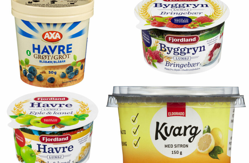 Axa Havre, Byggryn og Havrelunsj fra Fjordlang og Kvarg med sitron.