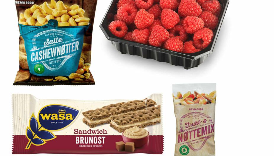 Cashewnøtter, frukt og nøttemiks, bringebær og sandwich med brunost.