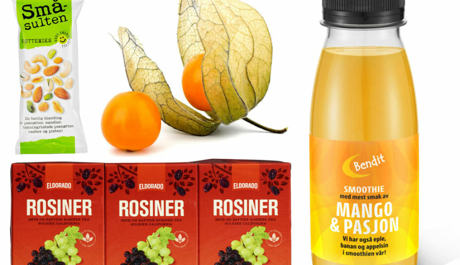 Småsulten nøttemiks, physalis, rosiner og Bendit smoothie med mango og pasjon.